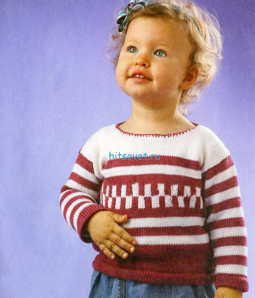 Вязание для девочки пуловера в полоску