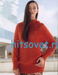 Полупрозрачный пуловер спицами
