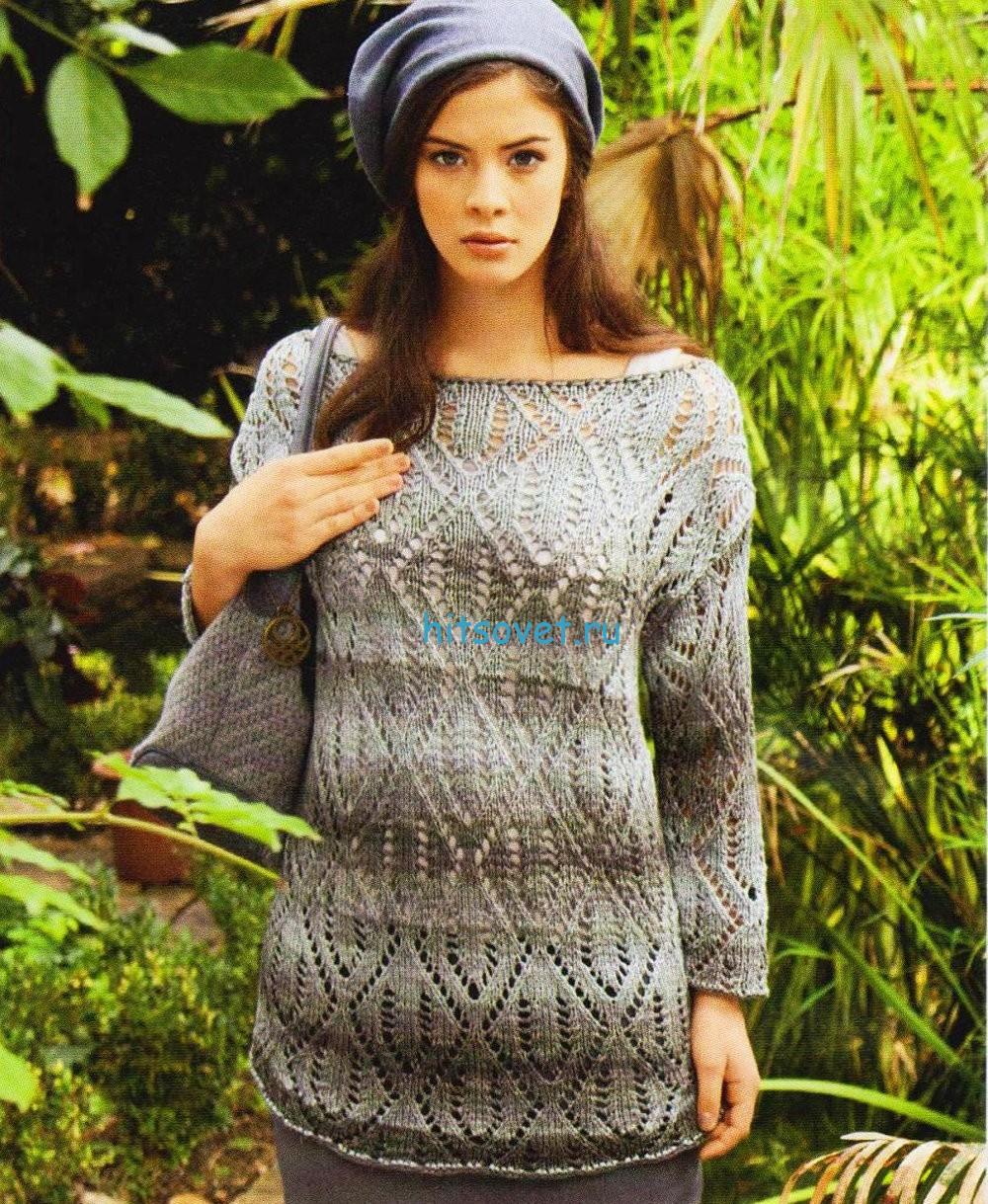 Вязание пуловер с ромбами