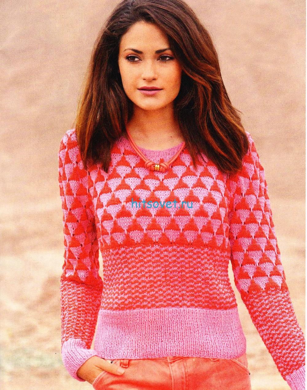 Вязание спицами пуловера женского , фото.
