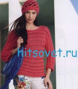 Вязание пуловера и шапки крючком