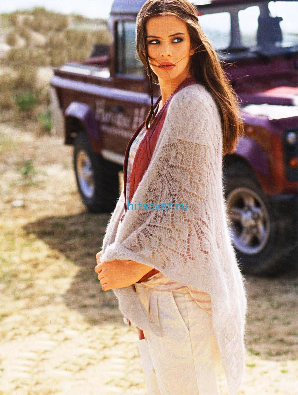 Вязание шали из королевского мохера, фото.