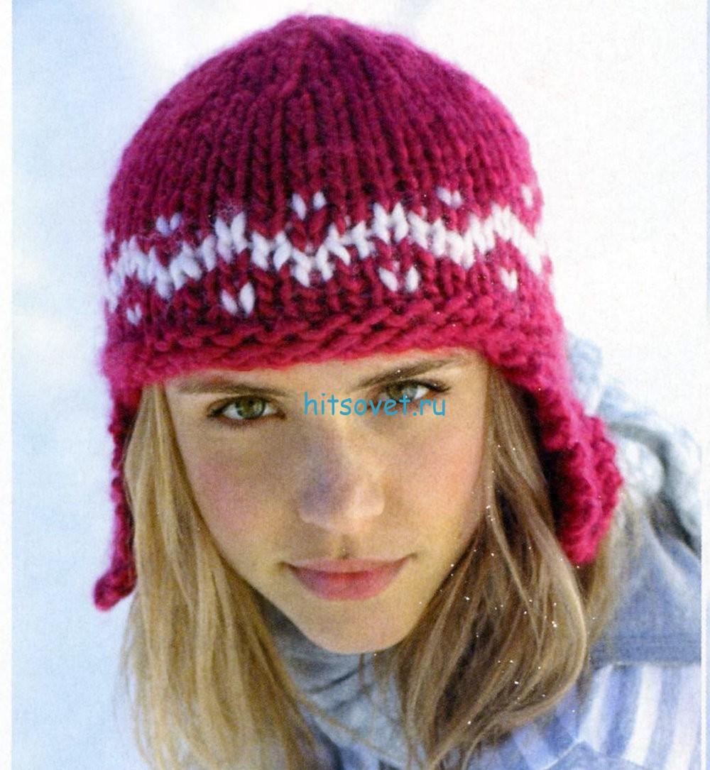 Вязание шапки ушанки из толстой пряжи