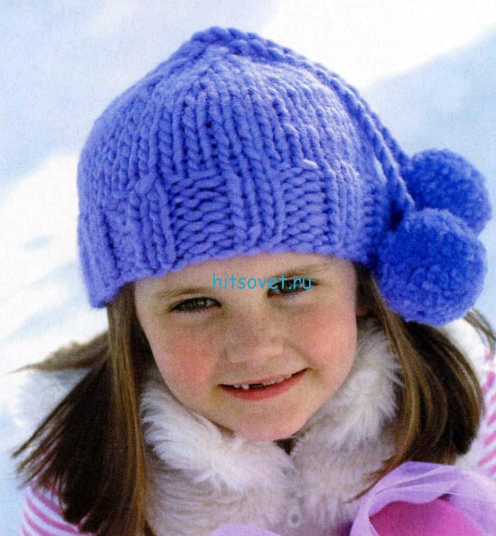 Вязание для девочки шапки с помпонами, фото.