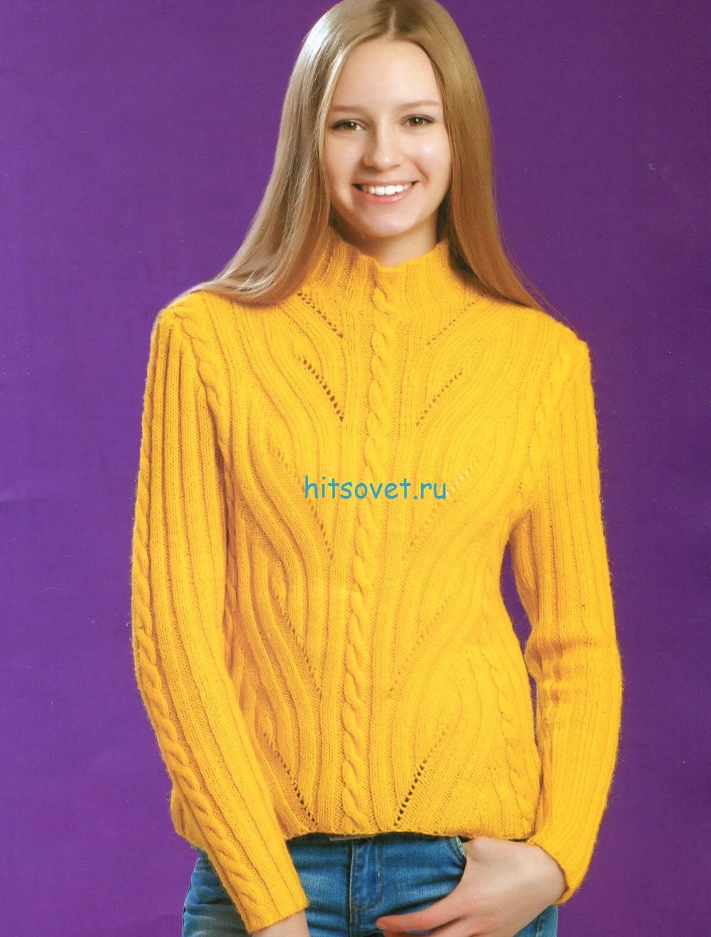 Вязание свитера спицами, фото.