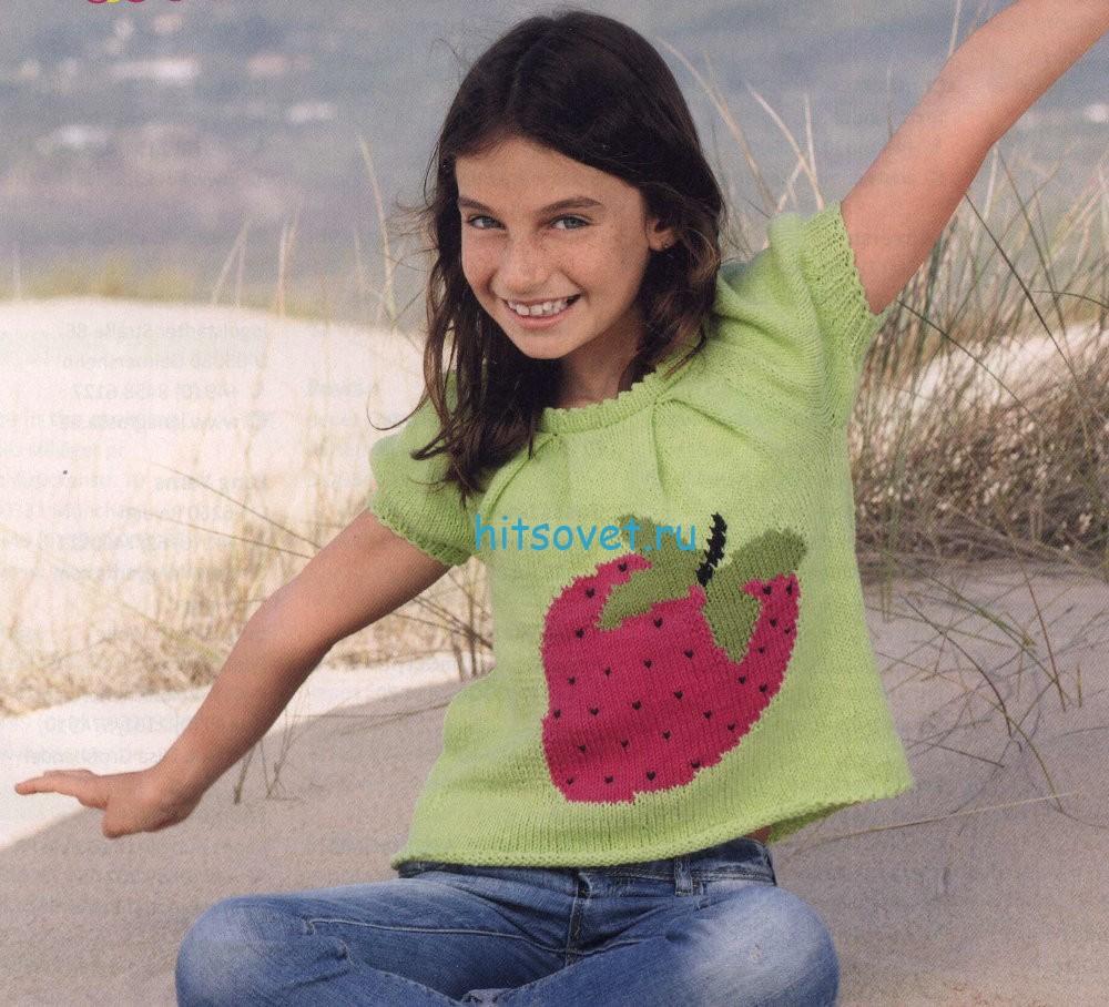 Вязание для девочек топа с клубничкой