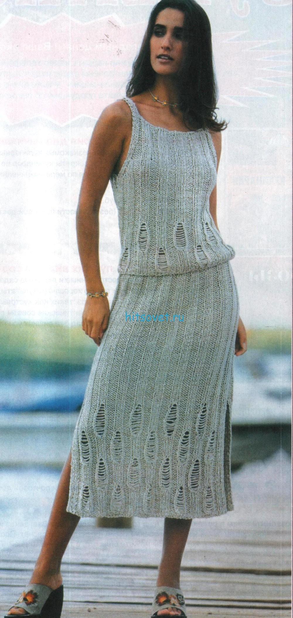 Вязание топа и юбки спицами