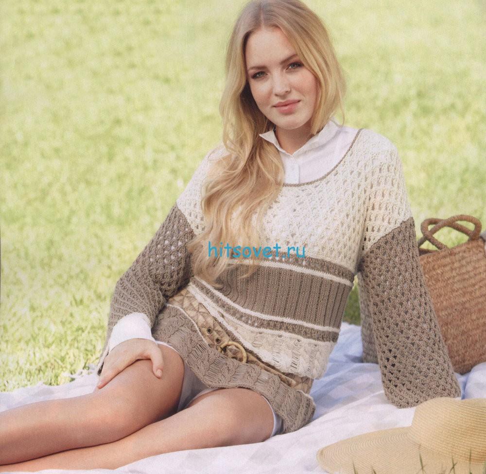 Вязание туники с косами и ажуром, фото.