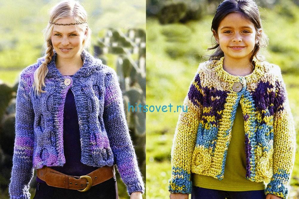 Вязание жакета для мамы и дочки