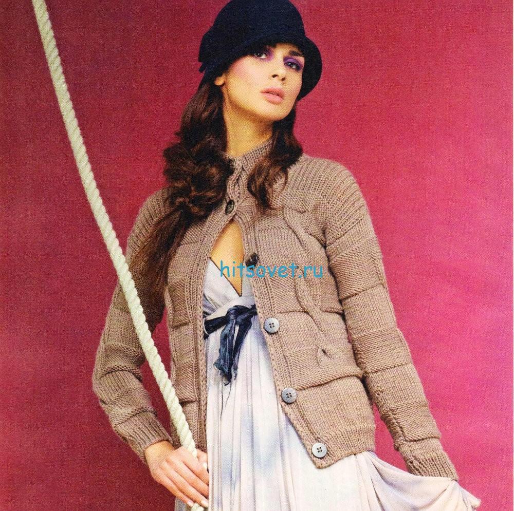 Модный вязаный жакет