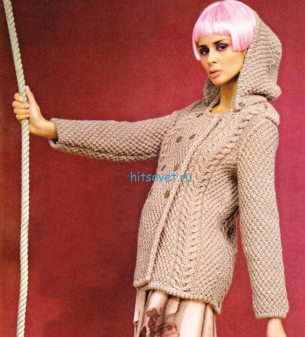 Вязание стильного жакета с капюшоном
