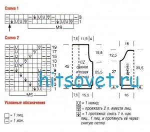Схема вязания жакета спицами