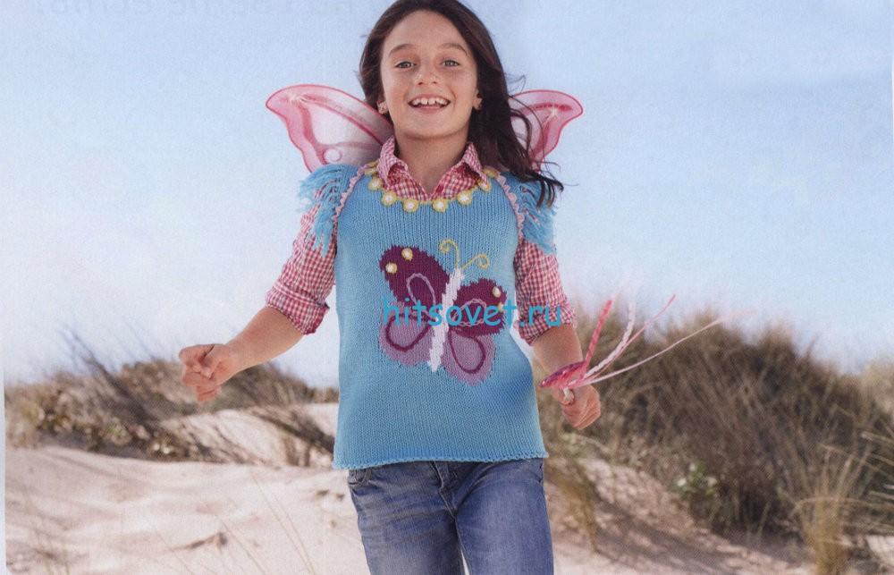 Вязание для девочки жилета с бабочкой