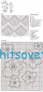Схема вязания джемпера с цветами