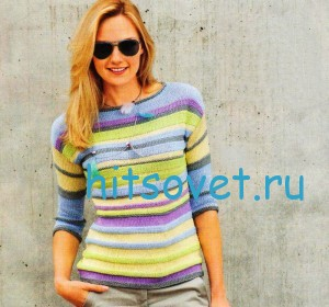 Вязание пуловера в полоску