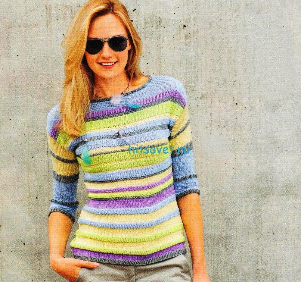Вязание спицами пуловера в полоску