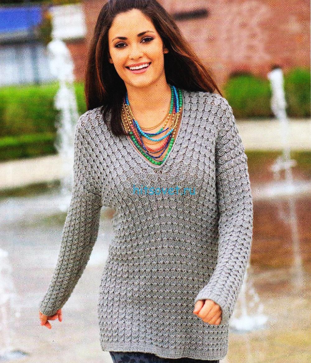 Вязание пуловера спицами красивым узором