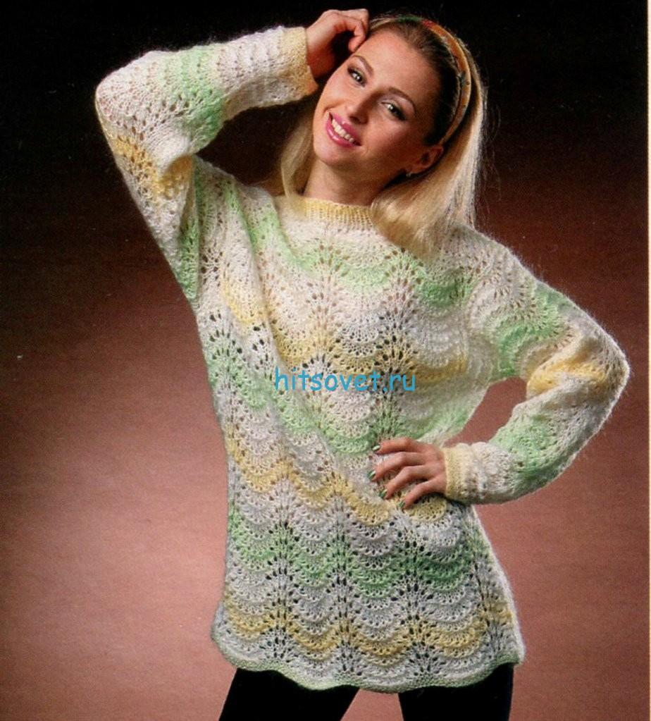 Ажурный меланжевый пуловер спицами