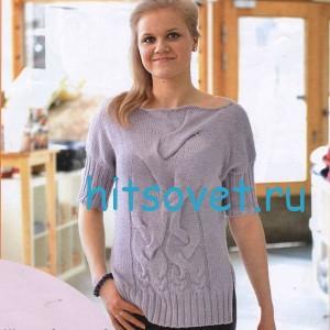 Вязаный пуловер с разрезами