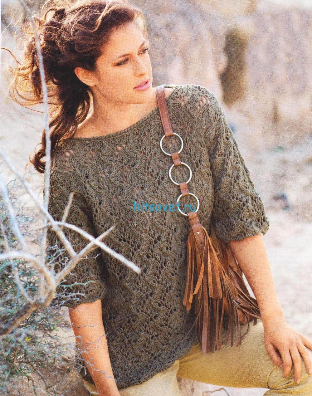Ажурный пуловер цвета хаки