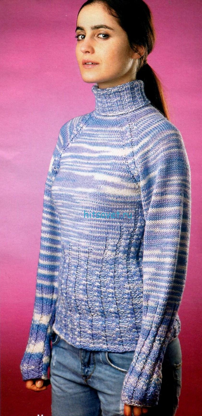 Меланжевый свитер спицами, фото.