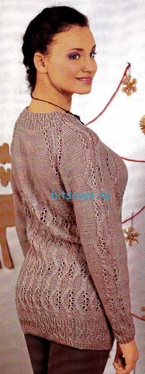 Вязаный свитер с ажурным узором, фото 2.
