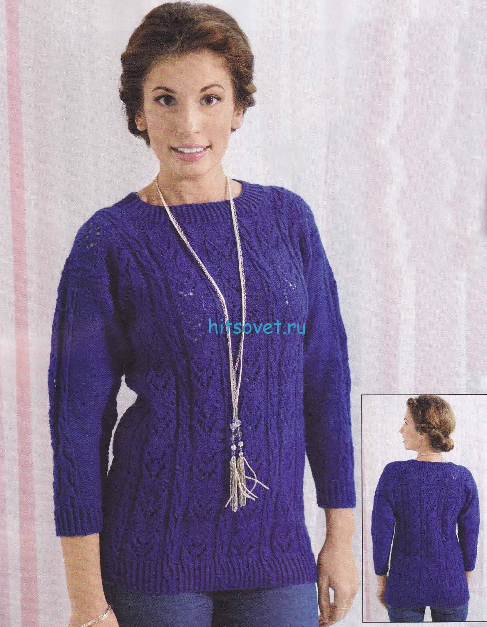 Вязание свитера ажурным узором со схемой, фото.
