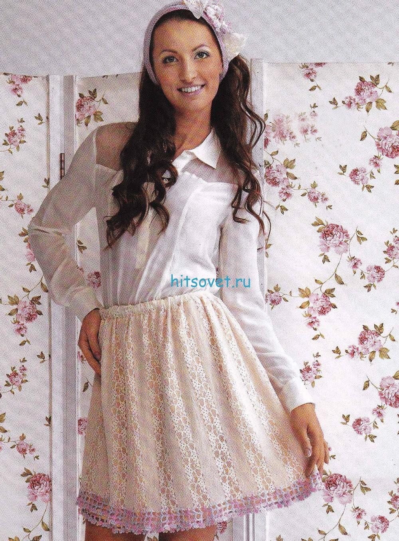 Вязание розовой юбки крючком