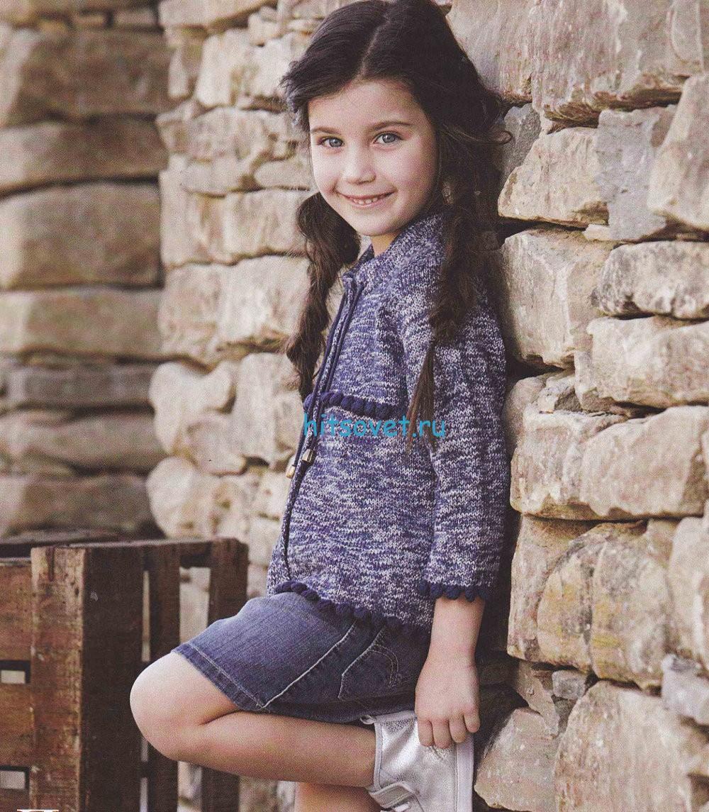 Вязание для девочки меланжевого кардигана