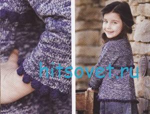 Вязание для девочки меланжевого кардигана, фото 2.