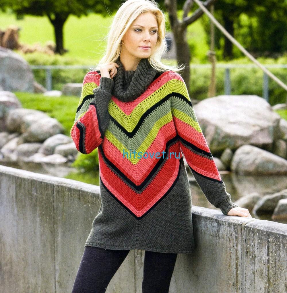 Вязание пуловера в мексиканском стиле