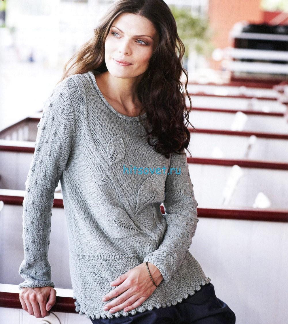 Вязание пуловера с шишечками