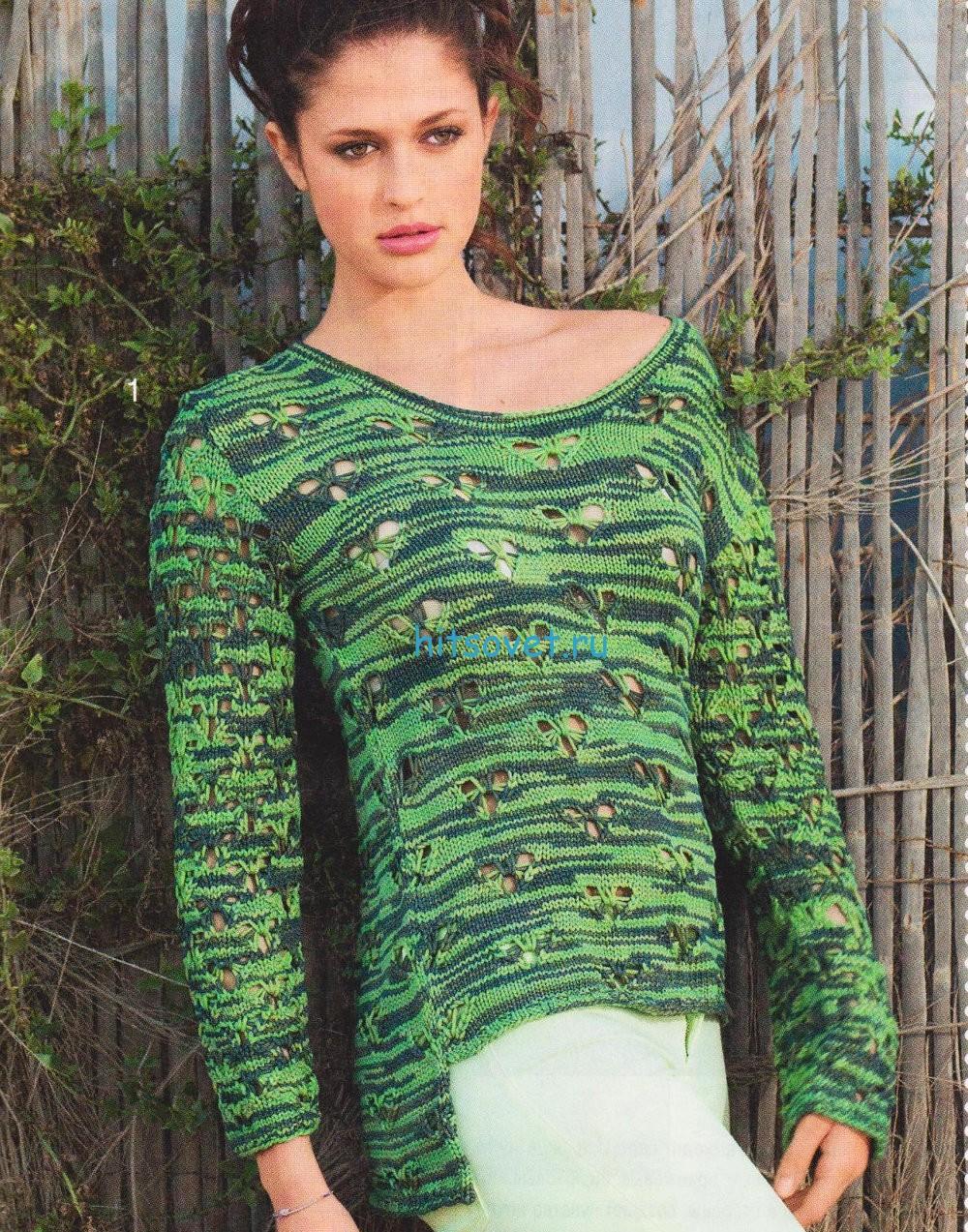 Вязание спицами меланжевого пуловера