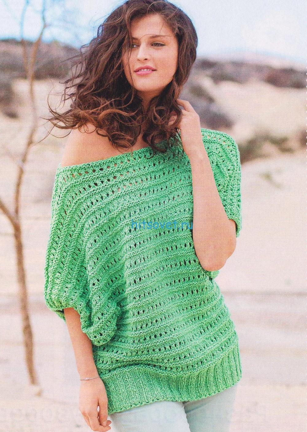 Вязание пуловера из ажурных полос