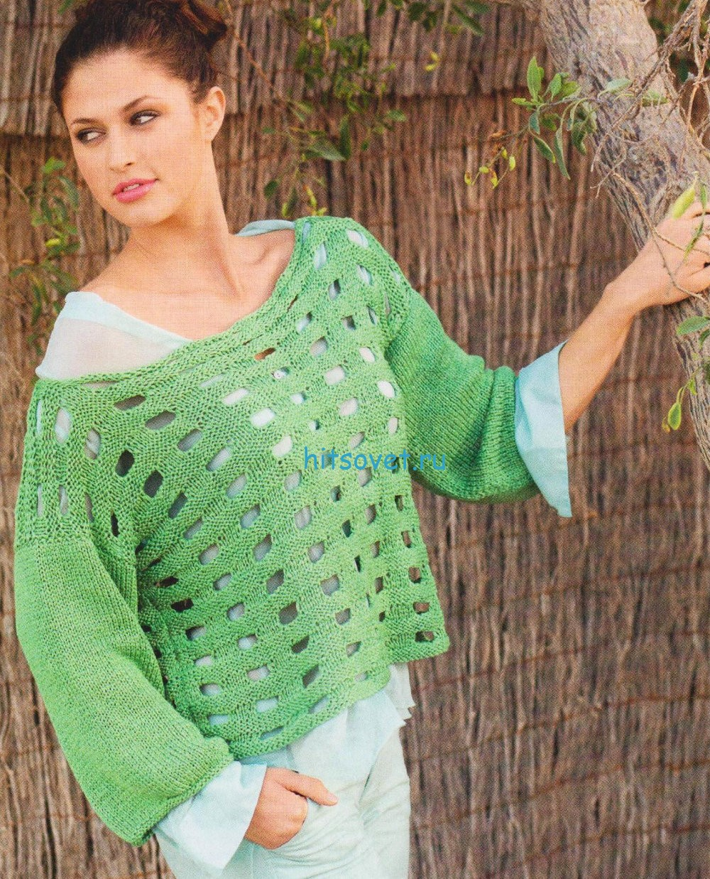Вязание пуловера с отверстиями
