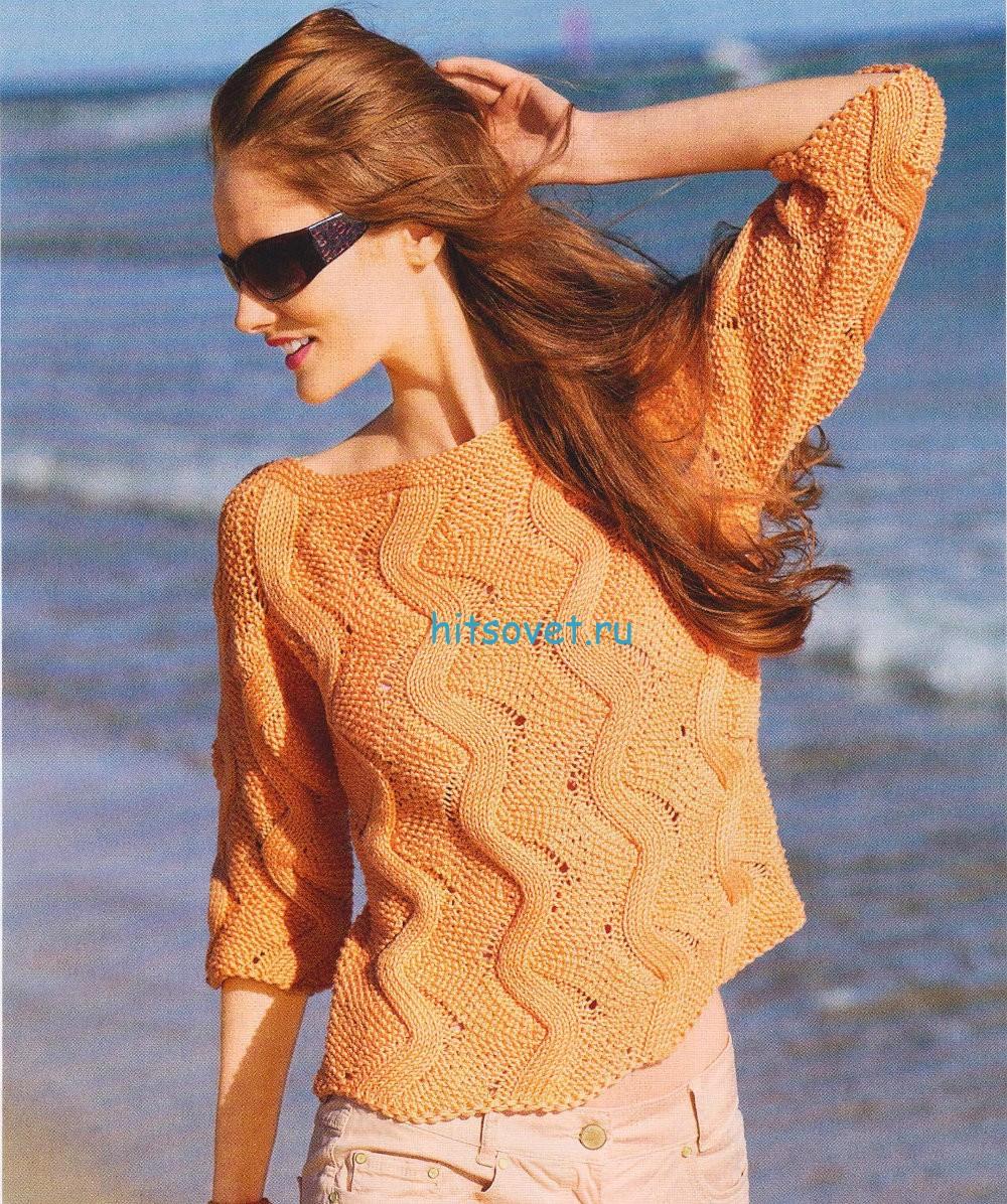 Вязание пуловера с зигзагами