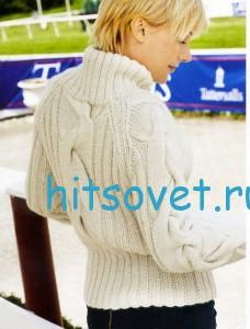 Вязание спицами пуловера с косами, фото 2.