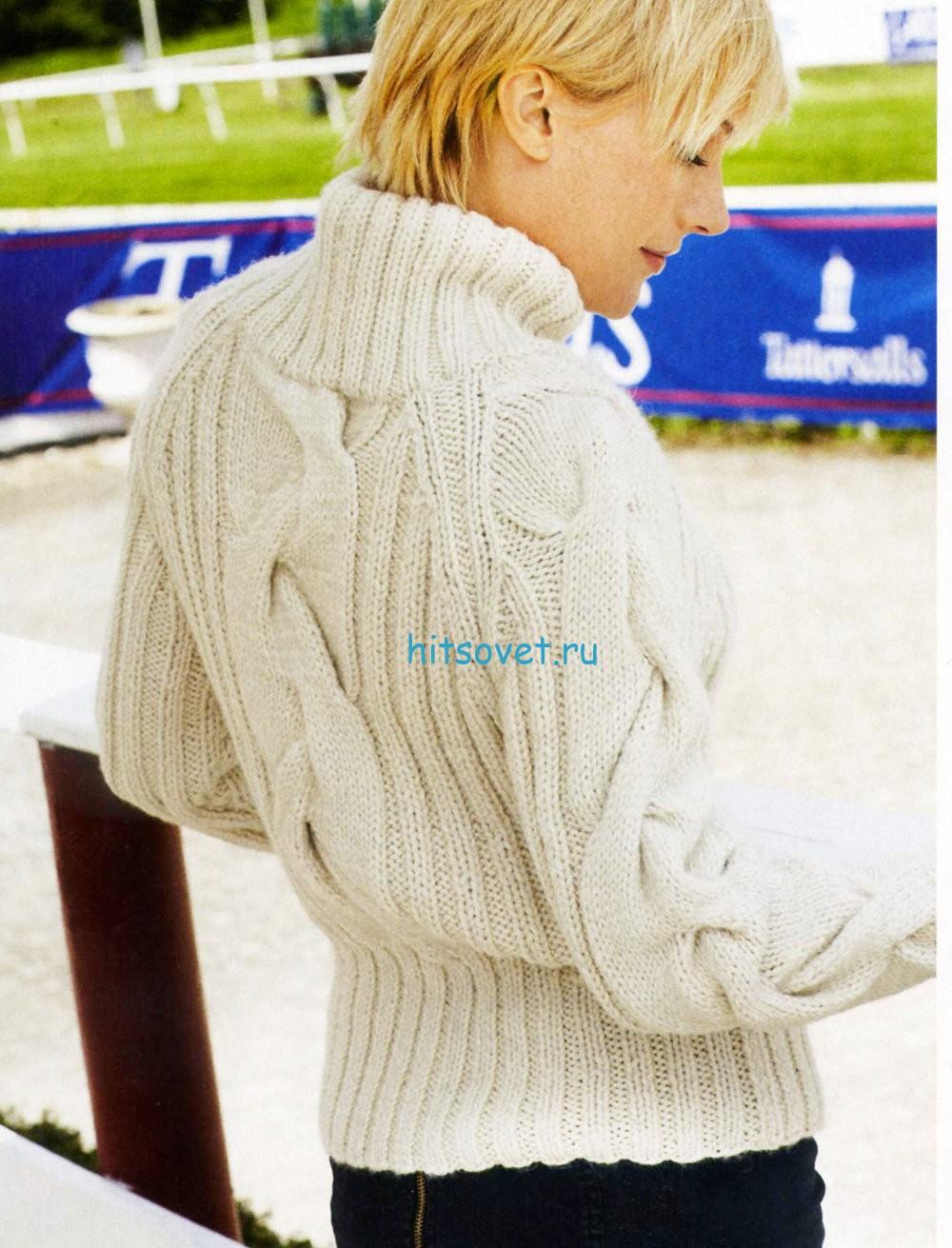 Женский свитер косами вязаный доставка