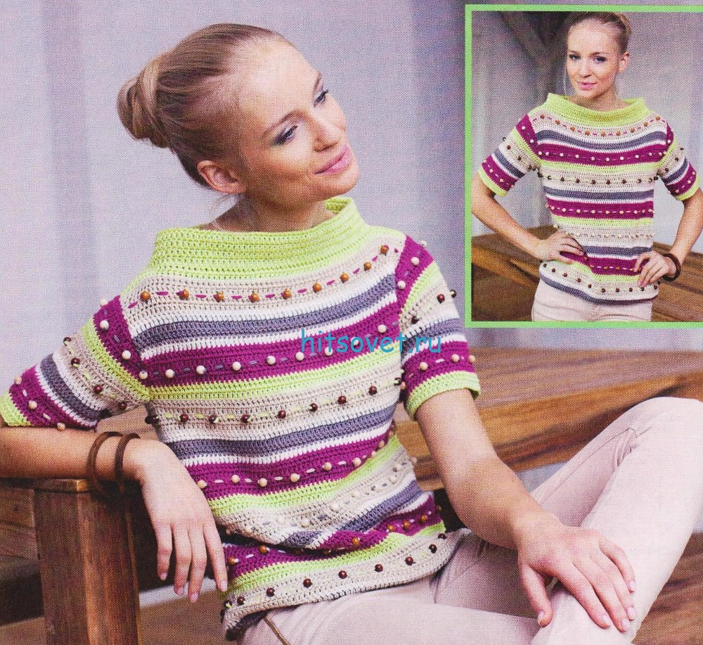 Вязание полосатого пуловера крючком