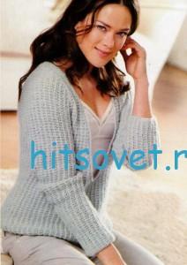 Вязаный пуловер с глубоким вырезом