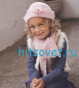 Вязание для девочки шапки и шарфа