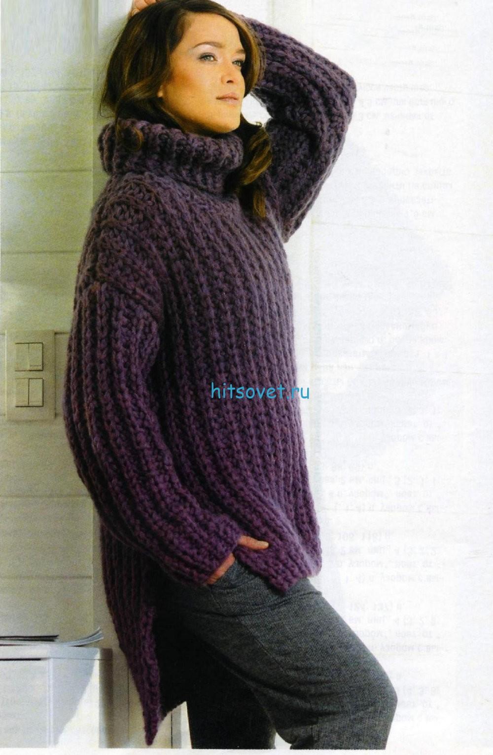 Вязание свитера толстыми спицами, фото.