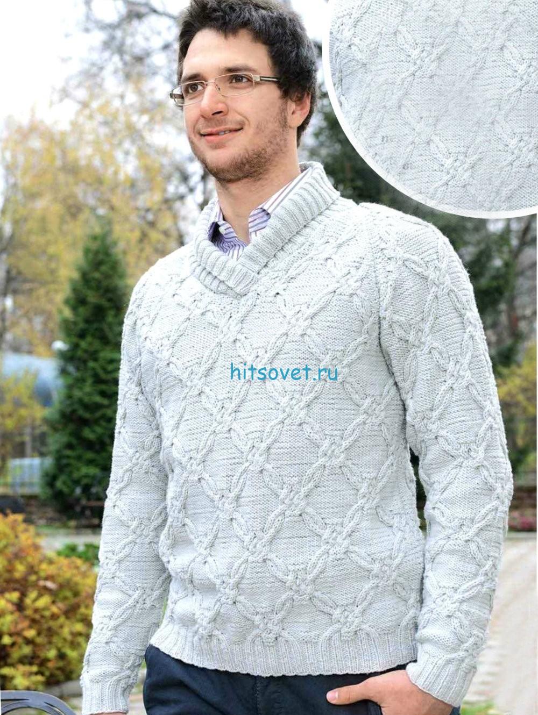 Стильный мужской свитер спицами, фото.