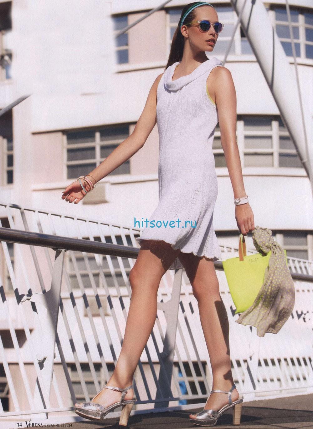 Вязаное белое платье, фото.