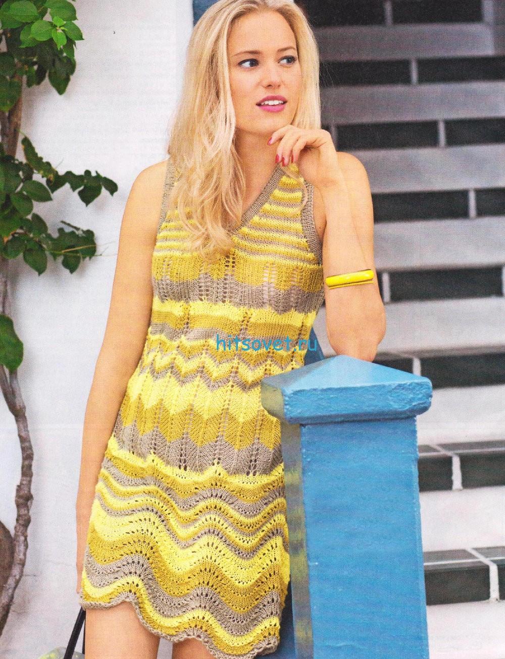 Полосатое платье спицами схема, фото.