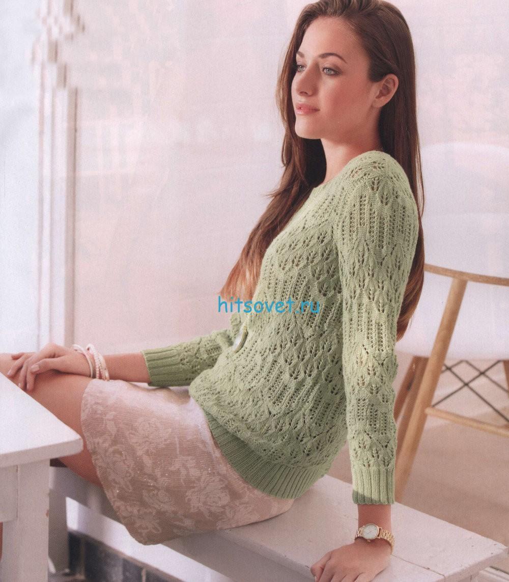 Ажурный пуловер спицами цвета шалфея