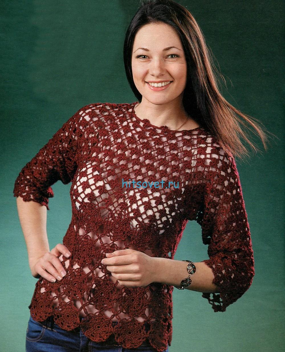Вязание крючком пуловера для женщин