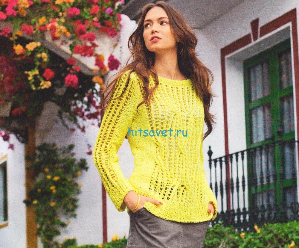Ажурный желтый пуловер спицами