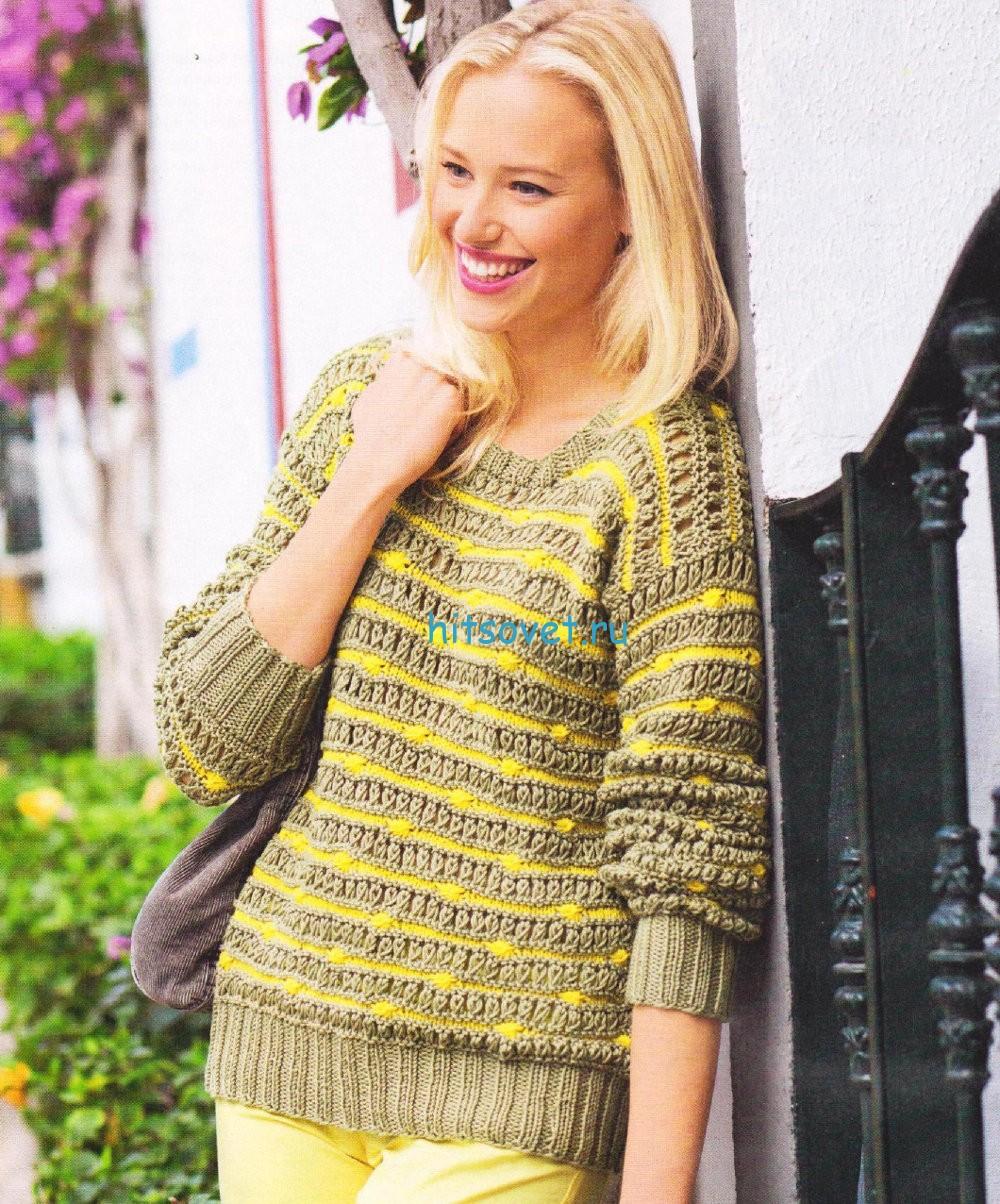 Женский пуловер с полосатым узором
