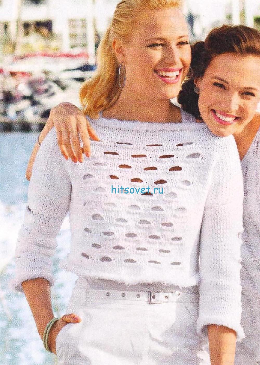 Короткий пуловер с отверстиями